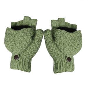 Half-finger Mittens Gloves Fingerless Mitten Gloves White-Green