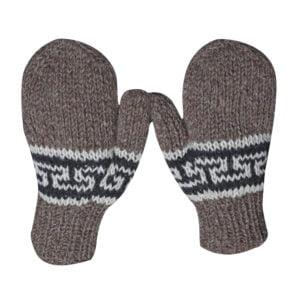Mittens Hand Knit Wool Mittens Medium Brown