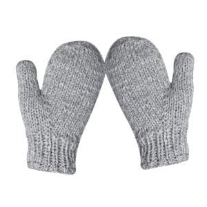 Mittens Hand Knit Wool Mittens Light Grey
