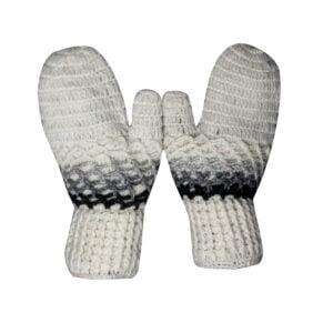 Mittens Hand Knit Wool Mittens Black-Grey