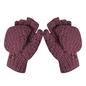 Half-finger Mittens Gloves Fingerless Mitten Gloves Wine