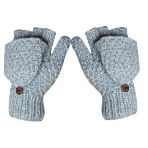 Half-finger Mittens Gloves Fingerless Mitten Gloves White-Light Blue
