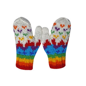 Mittens Hand Knit Wool Mittens Rainbow
