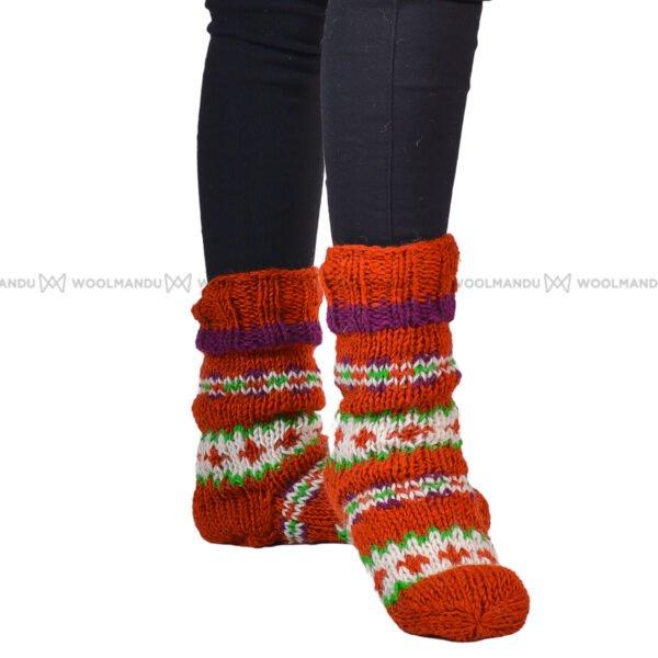 Organe and Brown Christmas Socks