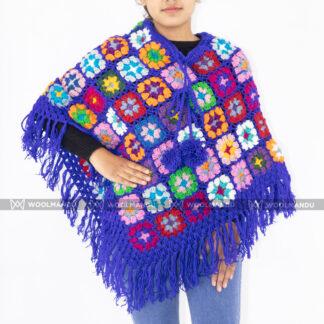 Handmade Crochet Poncho Poncho Blue