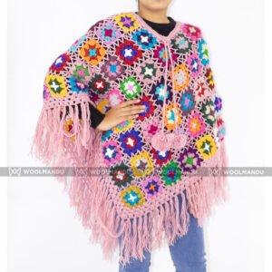 Handmade Crochet Poncho Winter Wool Poncho flower