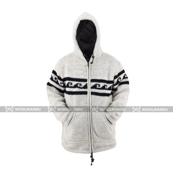 Grey White Woolen Jacket