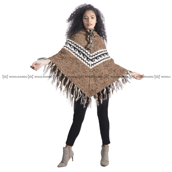 Brown Woolen Knitted Poncho