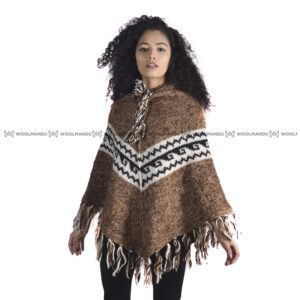 Woolen Knitted Poncho Poncho Brown