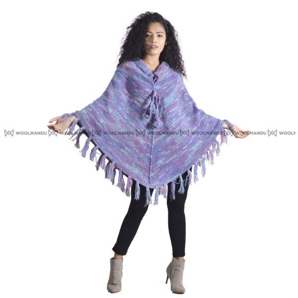 Purple Woolen Knitted Poncho