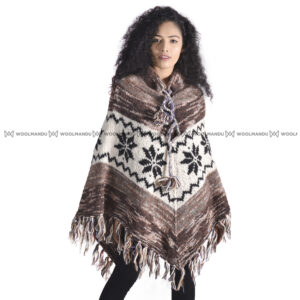 Woolen Knitted Poncho Poncho Brown Taidai